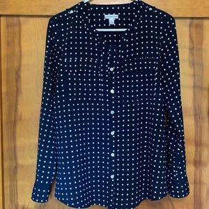 Women's Croft & Barrow Button Up Navy/White